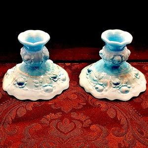 Fenton Blue & White Swirl Milk Glass Candleholders